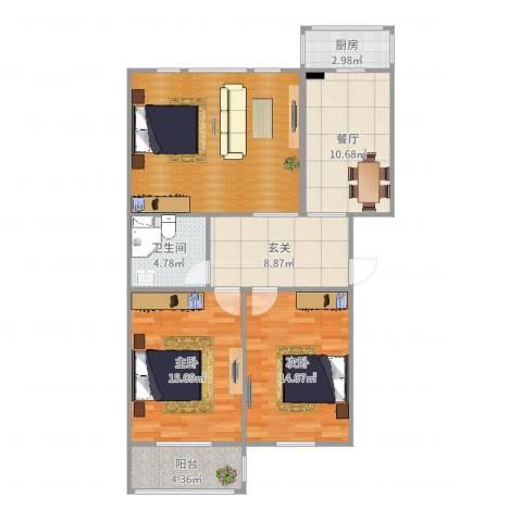 瑞江花园菊苑2室1厅1卫1厨82.25㎡户型图