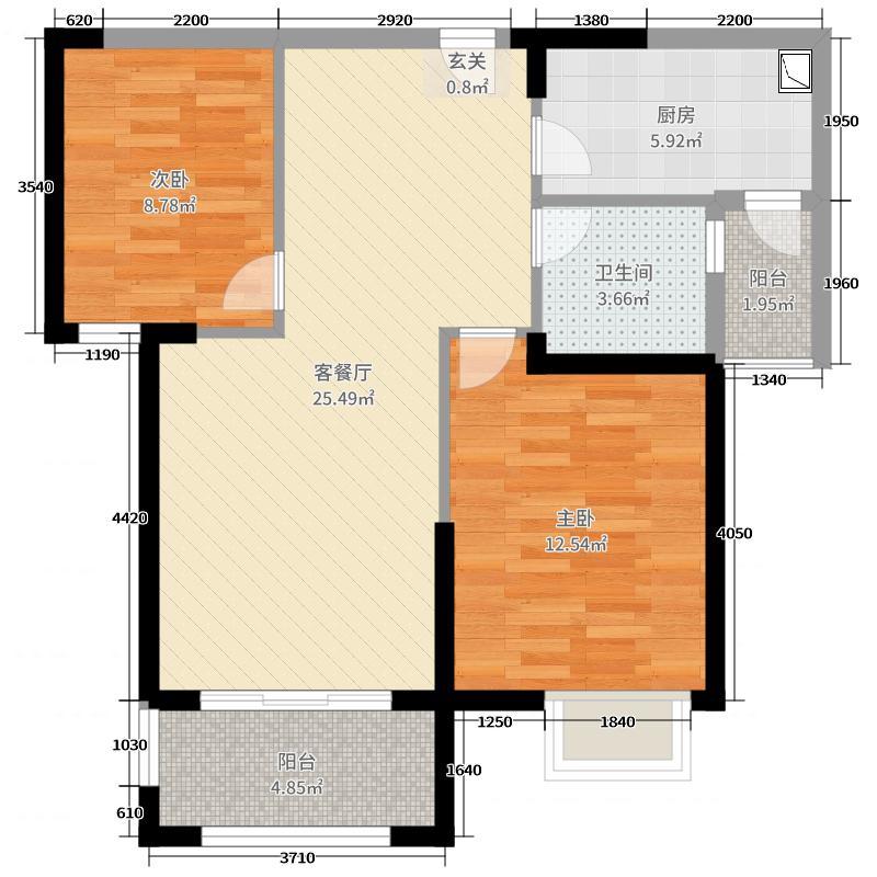保利・香槟国际79.00㎡15#、16#、35#、36#A户型2室2厅1卫1厨