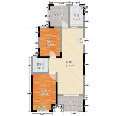 紫金城2室2厅1卫1厨104.00㎡户型图
