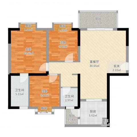 国贸大厦3室2厅2卫1厨108.00㎡户型图
