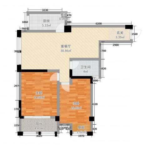 藻江花园二期2室2厅1卫1厨104.00㎡户型图