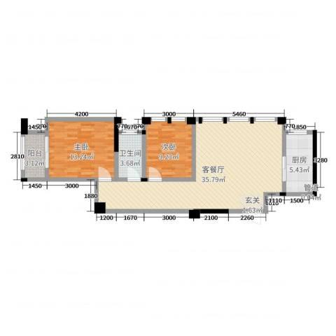 藻江花园二期2室2厅1卫1厨94.00㎡户型图