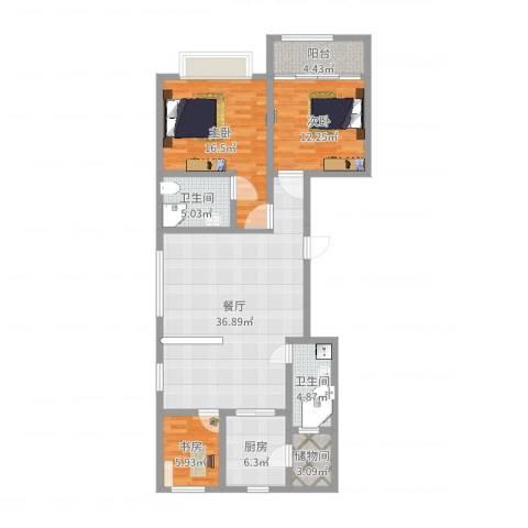 高新城市广场3室1厅2卫1厨119.00㎡户型图