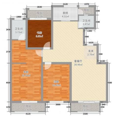 英伦华府3室2厅2卫1厨143.00㎡户型图