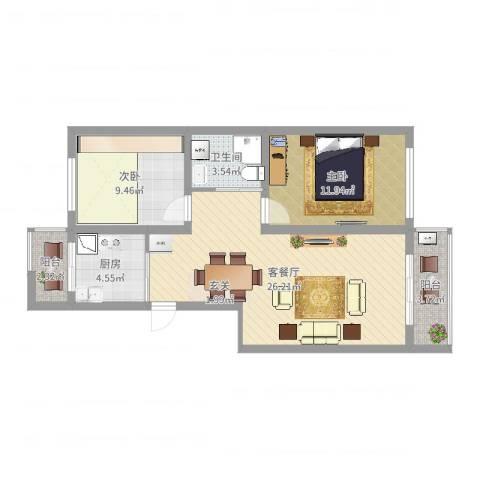 丽景国际2室2厅1卫1厨77.00㎡户型图