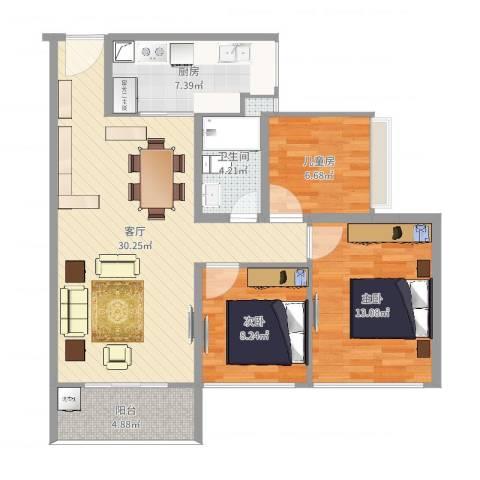 星河丹堤F区3室1厅1卫1厨93.00㎡户型图