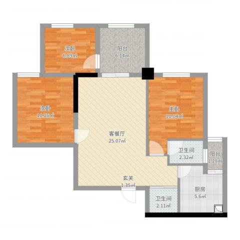 万向西界莎拉3室2厅2卫1厨90.00㎡户型图