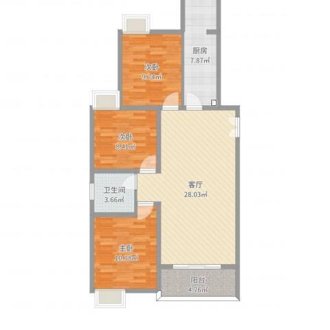 香草山二期14号楼1号房3室1厅1卫1厨91.00㎡户型图