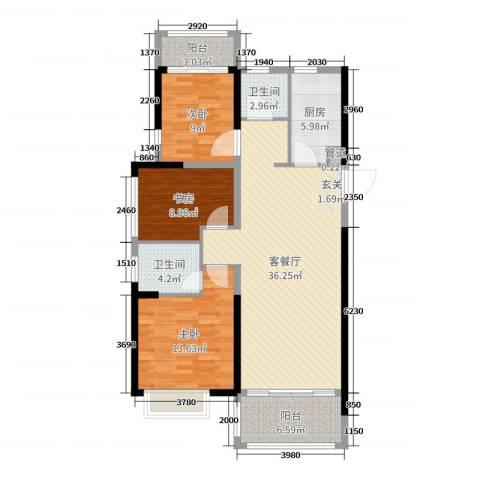 凯旋城3室2厅2卫1厨114.00㎡户型图