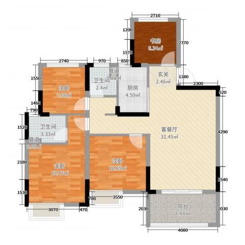 华宇林泉雅舍4室2厅2卫1厨108.00㎡户型图