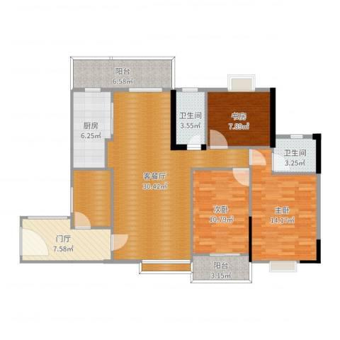 恒达花园3室2厅3卫1厨124.00㎡户型图