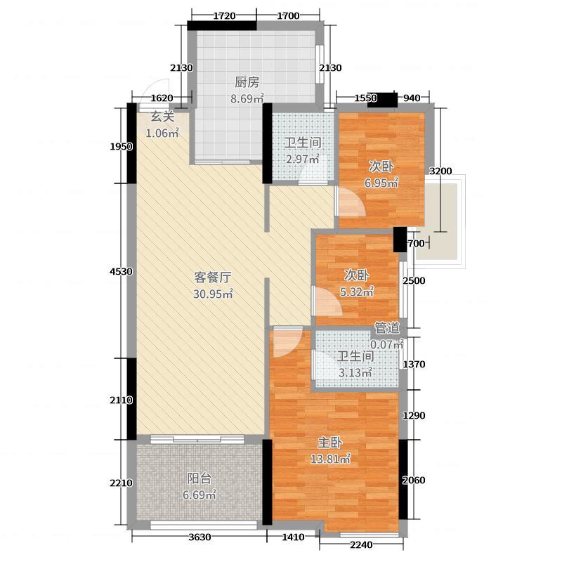 龙腾豪园102.75㎡一期2号楼标准层04户型3室3厅2卫1厨