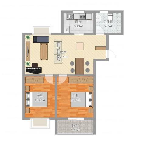 洪福小区三期2室1厅1卫1厨84.00㎡户型图