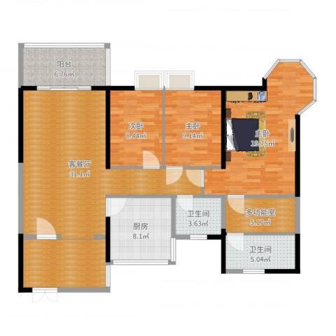 麒麟花园3室2厅2卫1厨132.00㎡户型图