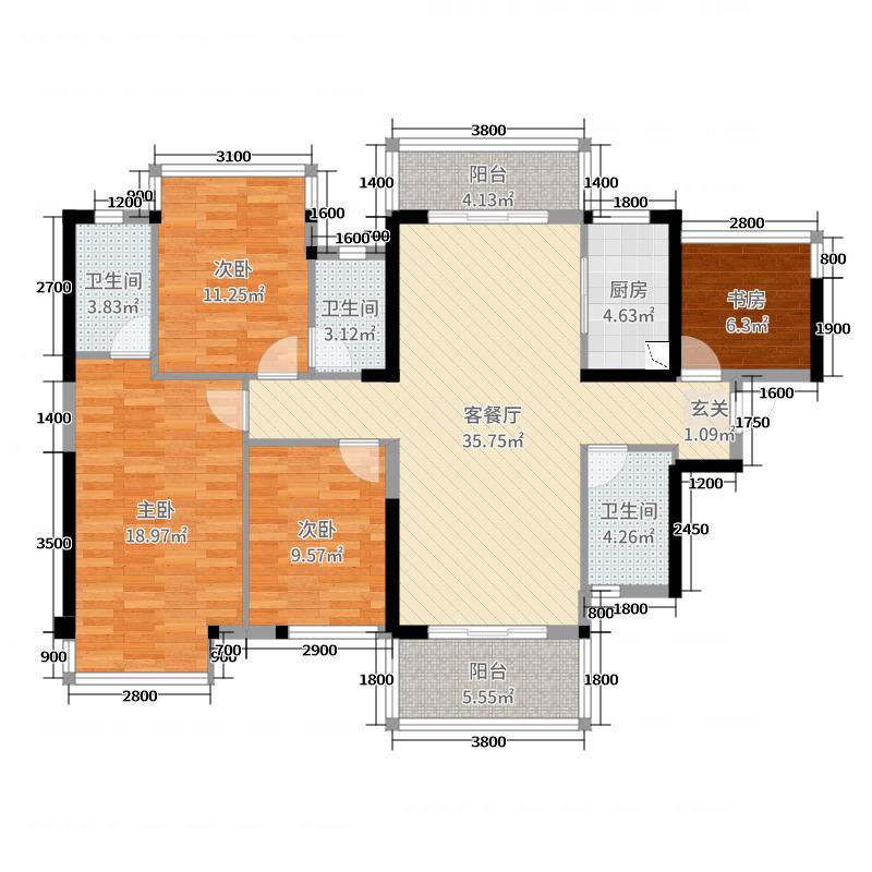 嘉和城依云堡129.00㎡1#楼C7-1户型4室4厅2卫1厨