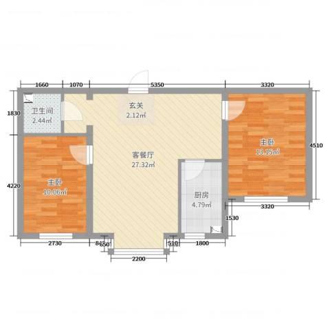 河东馨苑2室2厅1卫1厨84.00㎡户型图