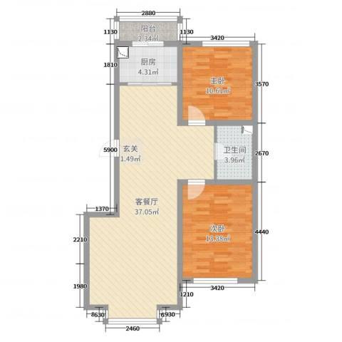 河东馨苑2室2厅1卫1厨101.00㎡户型图