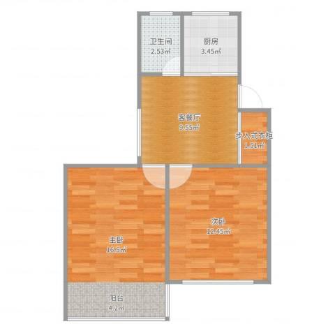 东波苑2室2厅1卫1厨57.00㎡户型图