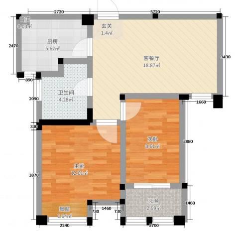 藻江花园二期2室2厅1卫1厨66.00㎡户型图
