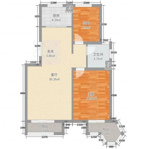 金色港湾2室1厅1卫1厨82.00㎡户型图