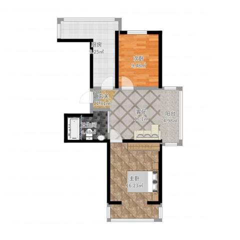华新名筑2室1厅1卫1厨71.00㎡户型图