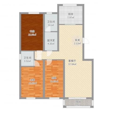 御湖国际3室4厅2卫1厨129.00㎡户型图