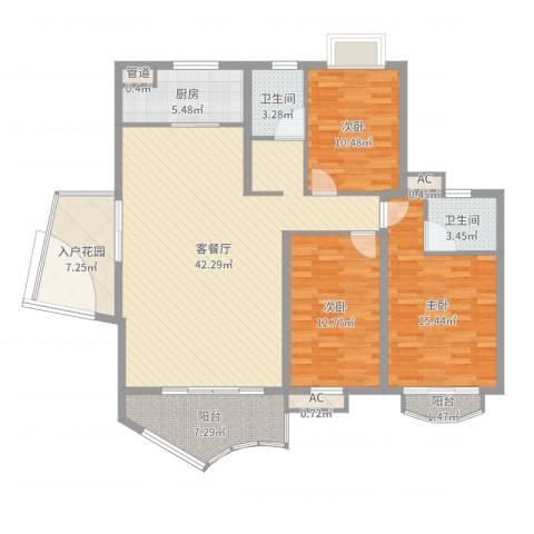 未来海岸蓝月湾3室2厅2卫1厨138.00㎡户型图