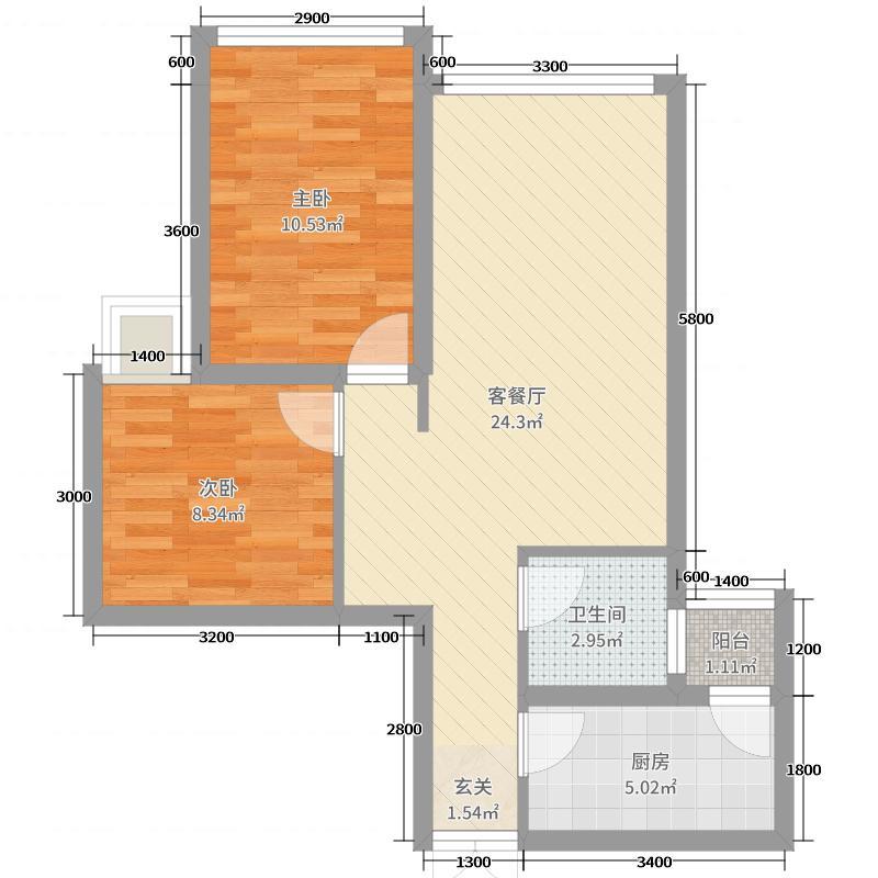 汇厦沙河锦庭二期67.23㎡2号楼A标准层户型2室2厅1卫1厨