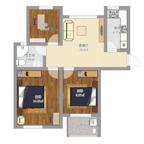 苏安新村80一3室2厅1卫1厨72.00㎡户型图