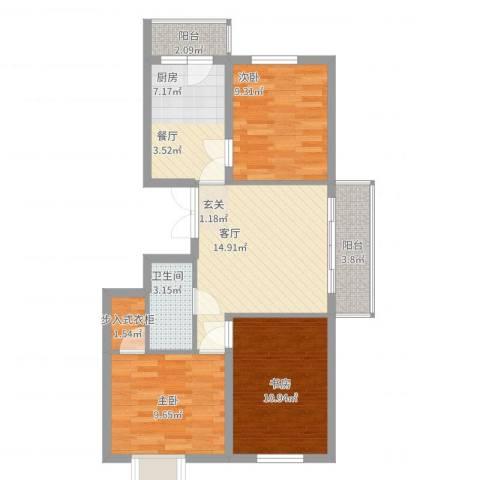 枫桥国际3室1厅1卫1厨90.00㎡户型图