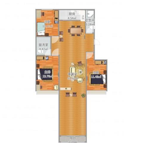 银河御府3室4厅1卫1厨137.00㎡户型图