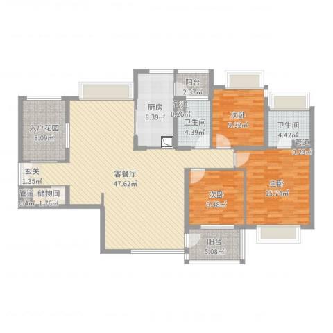 利得国际3室2厅2卫1厨147.00㎡户型图