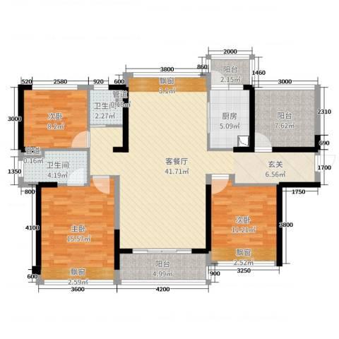 碧桂园・翡翠山3室2厅2卫1厨103.30㎡户型图