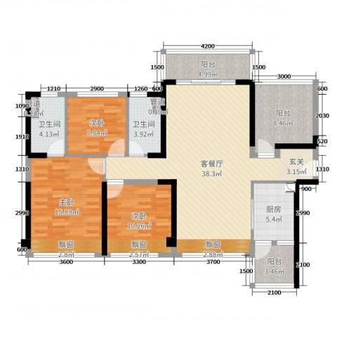 碧桂园・翡翠山3室2厅2卫1厨103.09㎡户型图