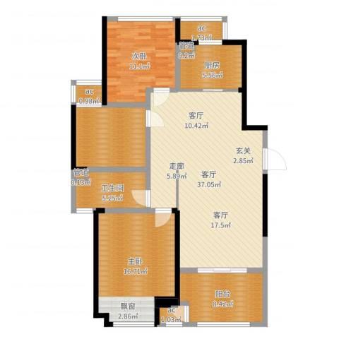 新城香溢俊园2室1厅1卫1厨121.00㎡户型图