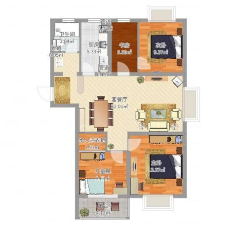 东海精工社4室2厅3卫2厨121.00㎡户型图