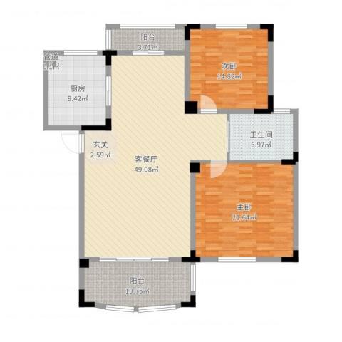 奇瑞龙湖湾2室2厅2卫1厨146.00㎡户型图