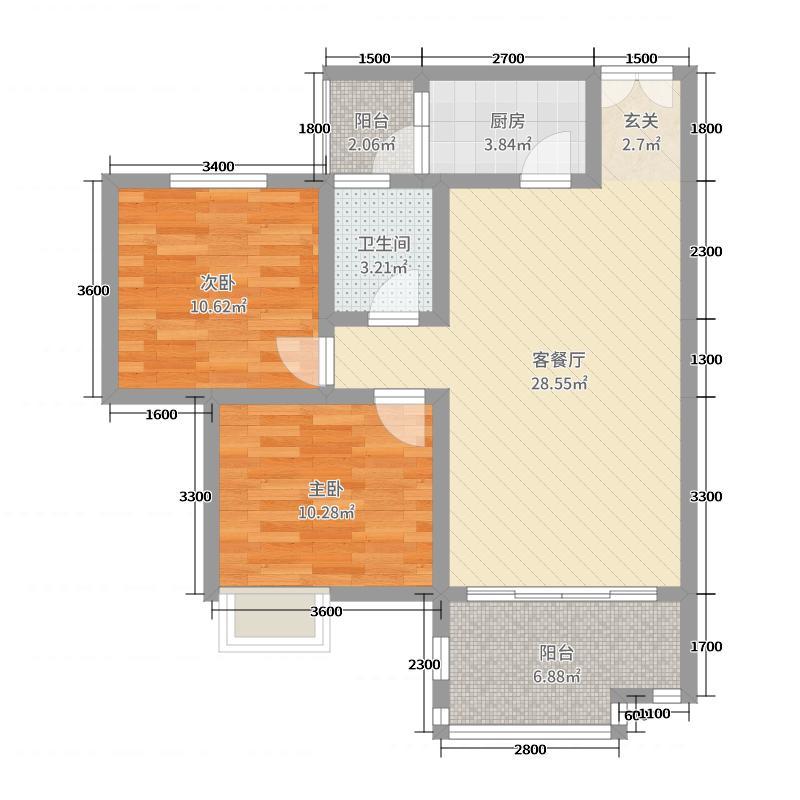 翰林雅苑77.65㎡D3户型2室2厅1卫1厨