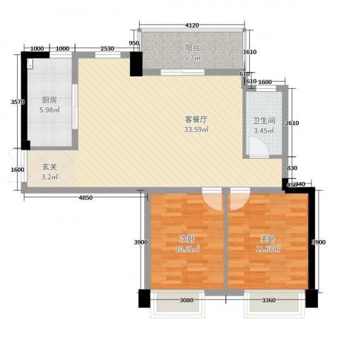 帝豪时代广场2室2厅1卫1厨89.00㎡户型图