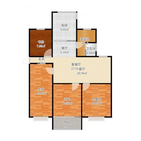 东方明珠城4室2厅1卫1厨122.00㎡户型图