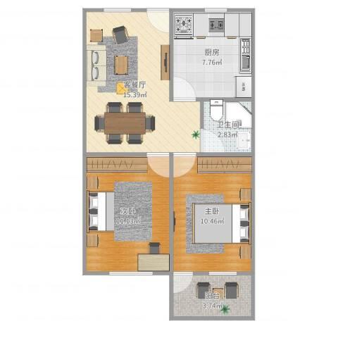 源昌广场社区2室2厅1卫1厨64.00㎡户型图