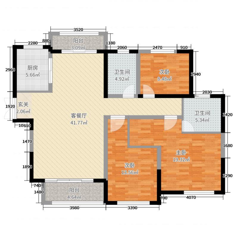 建业・十八城四期133.48㎡28#楼东户户型3室3厅2卫1厨