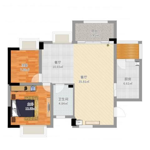 凤凰城凤妍苑9号2室1厅1卫1厨94.00㎡户型图