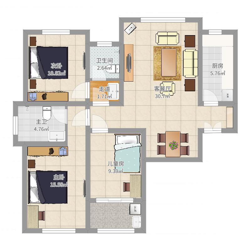中鹤国际-日式-106平方-三居室