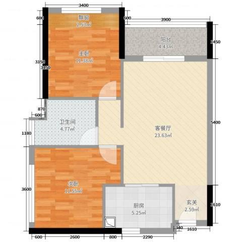 碧桂园・翡翠山2室2厅1卫1厨61.01㎡户型图