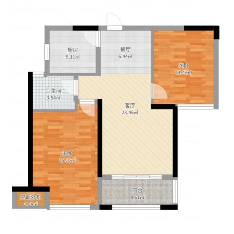 蚌埠绿地中央广场2室1厅1卫1厨80.00㎡户型图