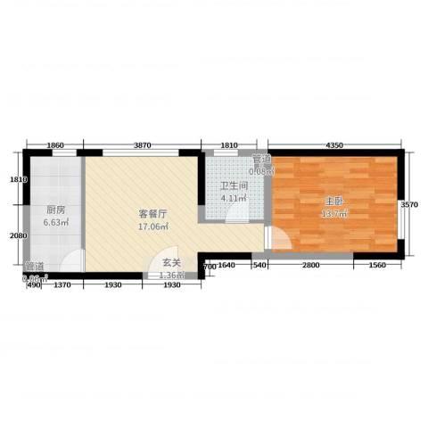 万科公园大道1室2厅1卫1厨65.00㎡户型图