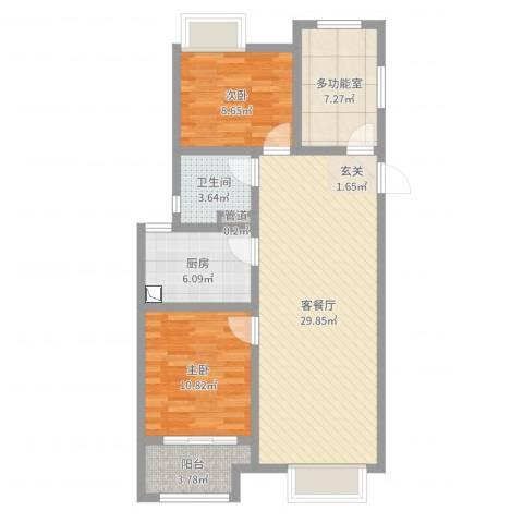 苏州万科城2室2厅1卫1厨88.00㎡户型图