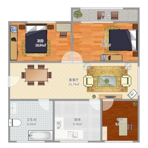 飞虹南村3室2厅1卫1厨89.00㎡户型图