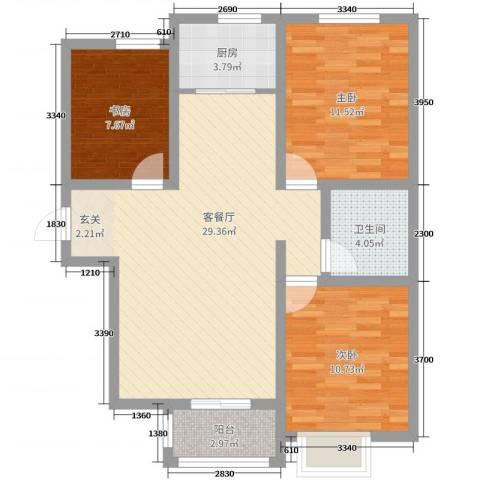 内丘锦江华庭3室2厅1卫1厨120.00㎡户型图